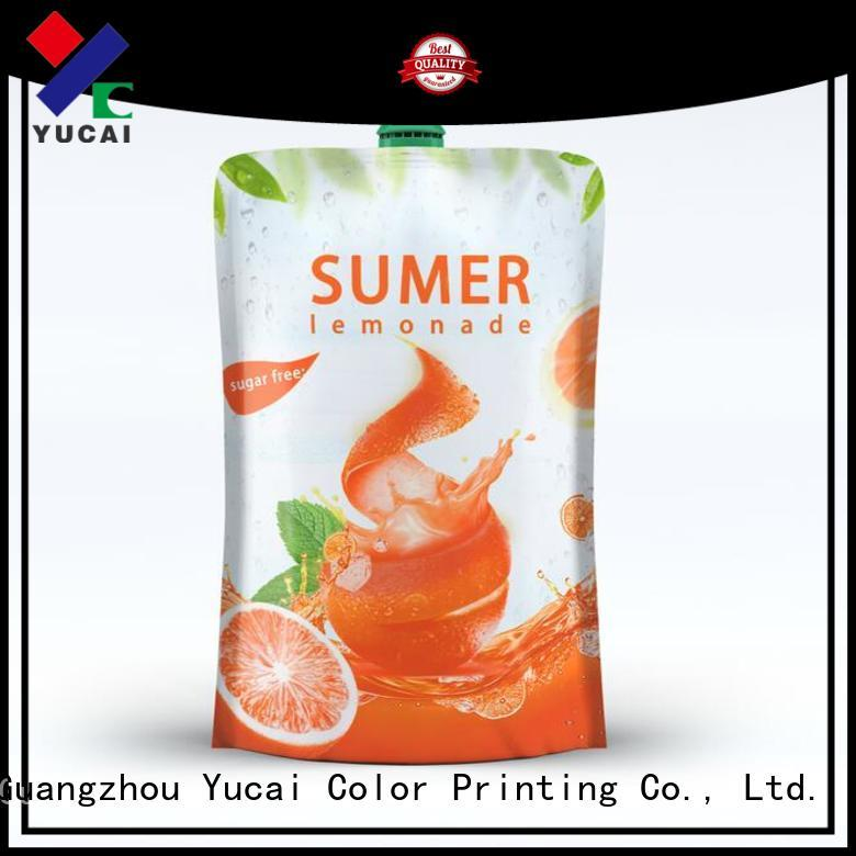 Yucai Brand drink pouches food grade spouted drink pouches