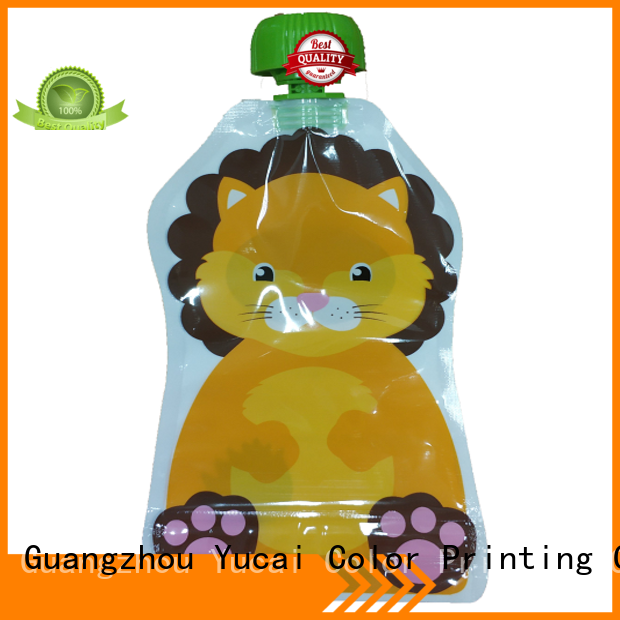 Yucai Brand food grade beverage spouted drink pouches manufacture