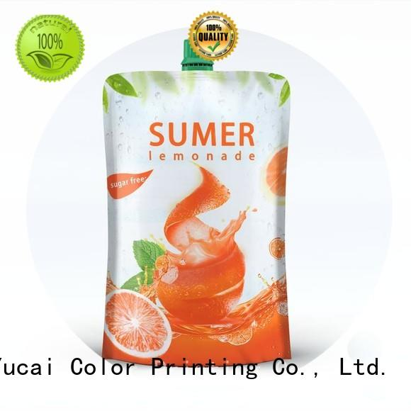 Yucai Brand food grade spouted spouted drink pouches manufacture