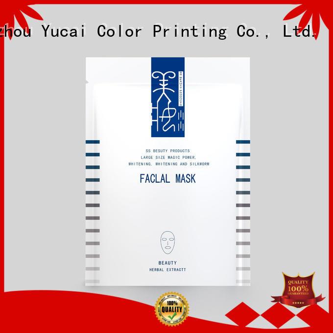 Yucai Brand plastic plastic packaging facial mask packaging supplier facial