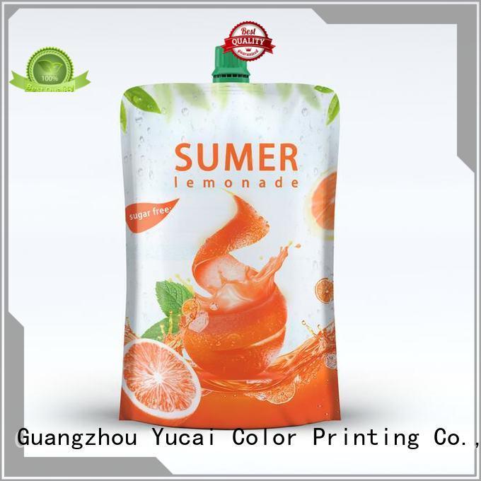 Hot pouches foil drink pouch spouted Yucai Brand