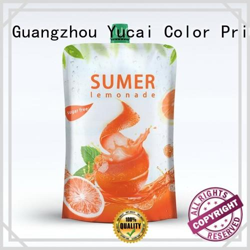 Yucai Brand packaging spouted beverage drink pouches