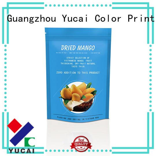 Yucai ziplock food packaging bag design for commercial